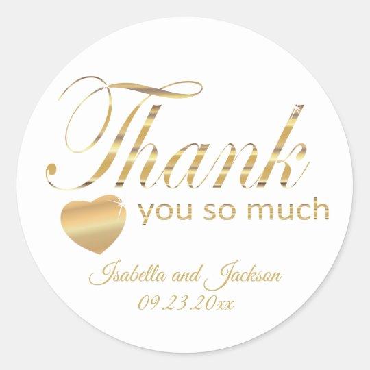 White and Gold Script Design - Thank You Classic Round Sticker