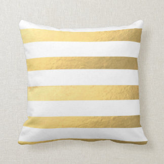 White and Gold Striped Pillow