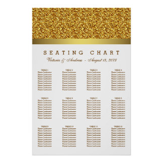 White and Gold Wedding Seating Chart Poster