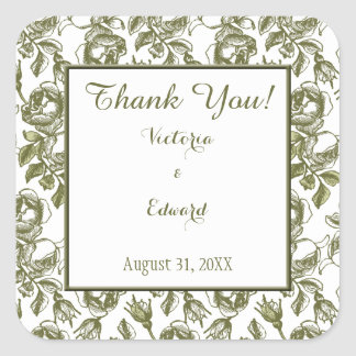 White and Golden Roses Custom Thank You Stickers