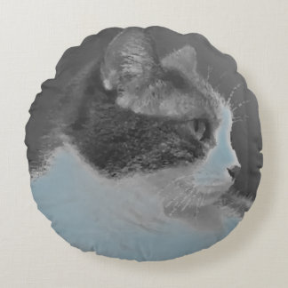 White and Gray Cat Profile Cute Round Cushion