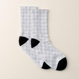 White And Gray Diamond Geometric Pattern Socks