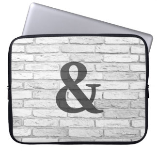 White and Gray Rustic Country Ampersand Laptop Sleeve