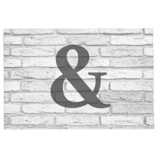 White and Gray Rustic Country Brick Ampersand Doormat