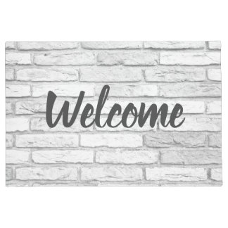 White and Gray Rustic Country Brick Welcome Doormat