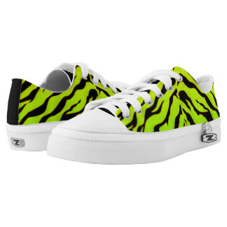 white And green Animal Tigers Stripes Low Tops