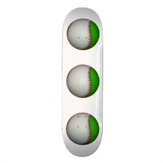 White and Green Baseball Custom Skate Board