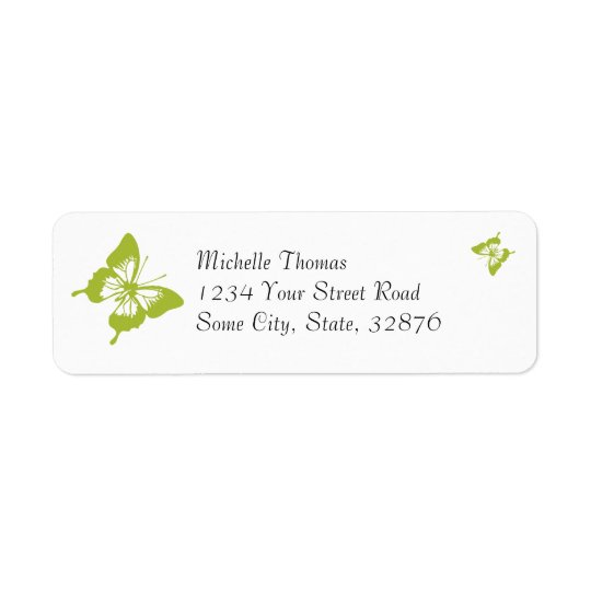 White and Green Butterfly Wedding Return Address Return Address Label