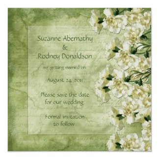 White and Green Carnations Save The Date Personalized Invite