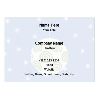 White and Green Christmas Bauble. On Starry Blue. Pack Of Chubby Business Cards
