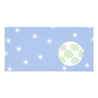 White and Green Christmas Bauble. On Starry Blue. Custom Photo Card