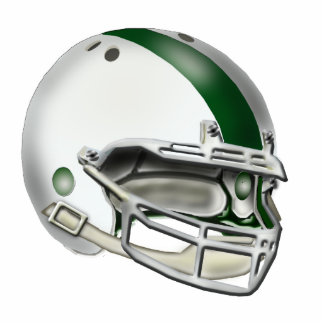 White and Green Football Helmet Ornament Photo Sculpture Decoration
