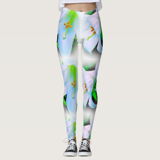 White and green lilies on black leggings