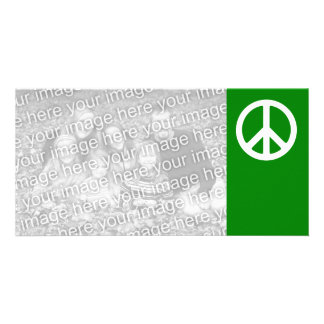 White and Green Peace Symbol Photo Greeting Card