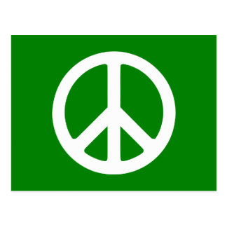 White and Green Peace Symbol Postcard