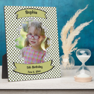 White and Green Polka Dots Birthday Photo Plaque