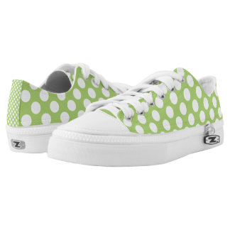 White and green polka dots pattern printed shoes