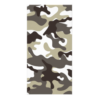 White and Grey Camouflage Personalised Photo Card