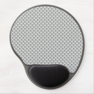 White and Grey Carbon Fibre Graphite Gel Mouse Pad