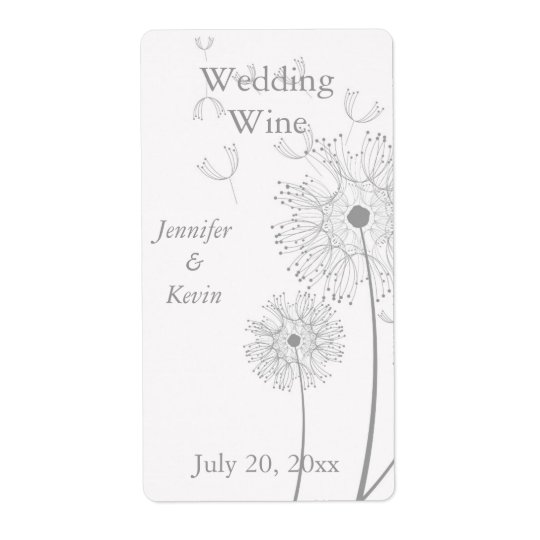 White and Grey Dandelion Wedding Mini Wine Labels