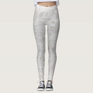 White and Grey Floral Swirl Leggings