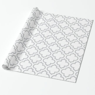 White and Grey Lattice Pattern Wrapping Paper
