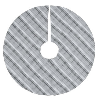 white and grey plaid pattern brushed polyester tree skirt