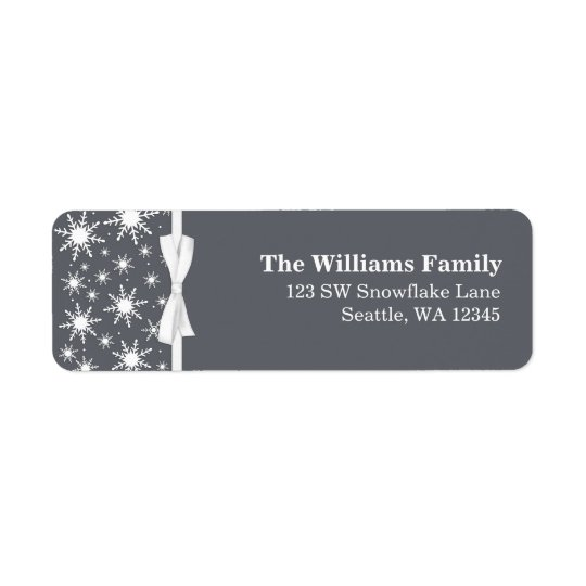 White and Grey Snowflakes Ribbon Christmas Address Return Address Label