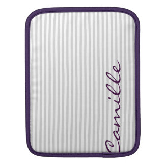 white and grey stripes personalized by name iPad sleeve