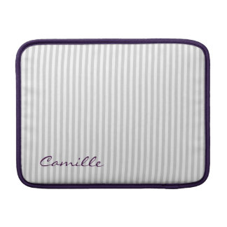 white and grey stripes personalized by name MacBook sleeve