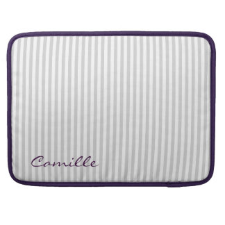 white and grey stripes personalized by name sleeve for MacBook pro