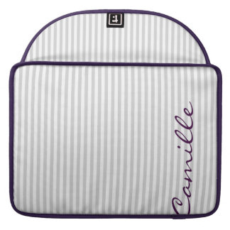 white and grey stripes personalized by name sleeve for MacBooks