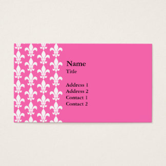 White and Hot Pink Fleur de Lis Pattern Business Card