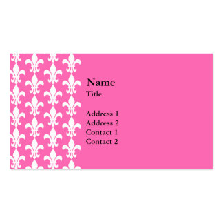 White and Hot Pink Fleur de Lis Pattern Pack Of Standard Business Cards