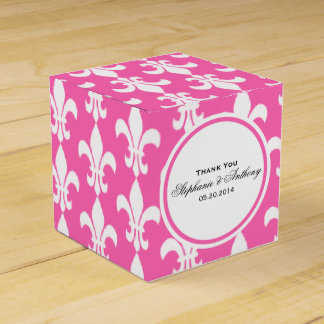 White and Hot Pink Fleur de Lis Thank You Favour Box