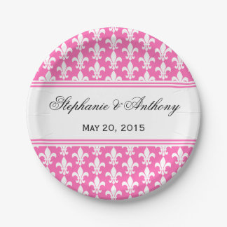 White and Hot Pink Fleur de Lis Wedding 7 Inch Paper Plate