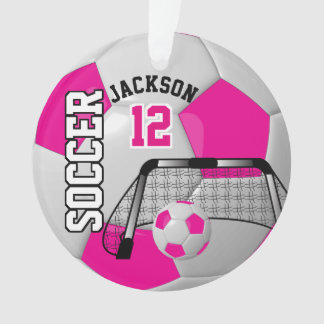 White and Hot Pink Personalise Soccer Ball Ornament