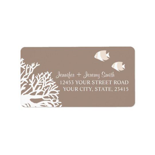 White and Ivory Beige Tropical Angelfish Address Label