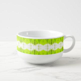 White And Kiwi Green Abstract Soup Mug