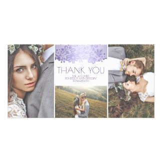 White and Lavender Lace Wedding Thank You Card