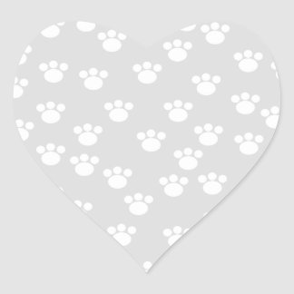 White and Light Gray Paw Print Pattern. Heart Sticker