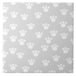 White and Light Gray Paw Print Pattern. Large Square Tile