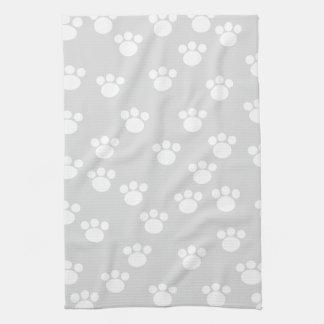White and Light Gray Paw Print Pattern. Tea Towel