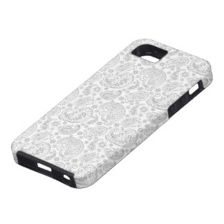 White And Light Gray Vintage Paisley Pattern Case For The iPhone 5