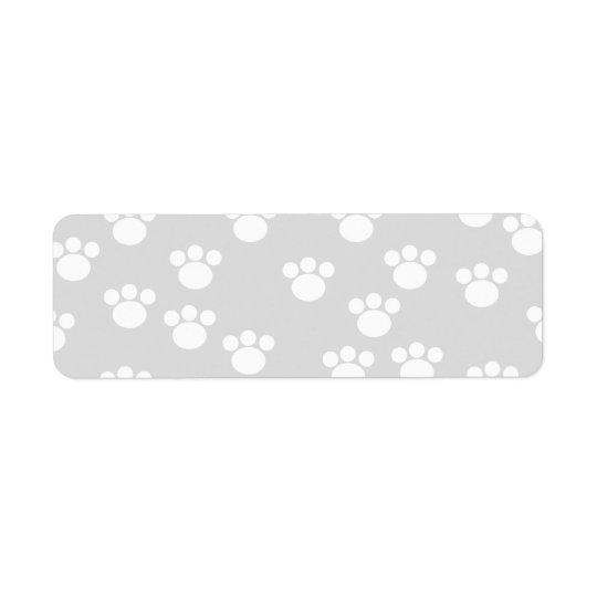 White and Light Grey Paw Print Pattern. Return Address Label