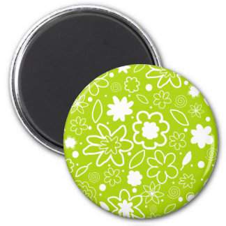 White and Lime Green Floral Pattern 6 Cm Round Magnet
