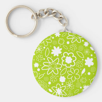 White and Lime Green Floral Pattern Key Ring