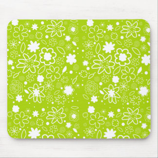White and Lime Green Floral Pattern Mouse Pad