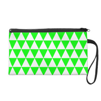 White and Lime Green Geometric Triangles Wristlet Purse