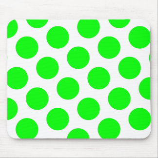 White and Lime Polka Dots Mouse Pad
